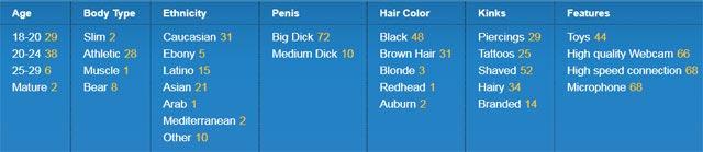 sexier.com Gay Men Live categories