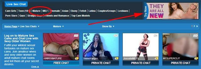 sexier.com MILF live cam categories