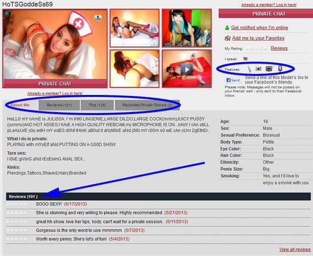 shemale.com profile page