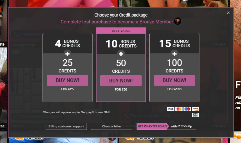Get extra credits on top of your first purchase at Fetish Galaxy - Review by livecamreviews.net